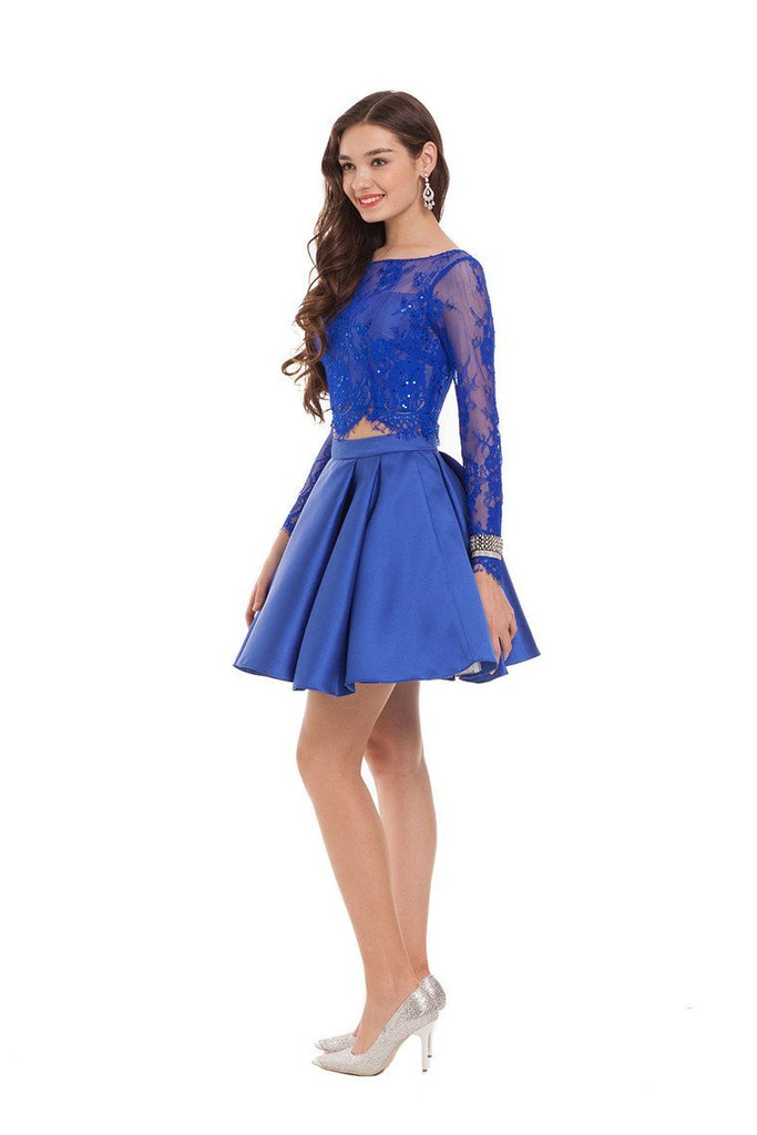Two Pieces Homecoming Dresses Satin & Lace Long Sleeve Short/Mini