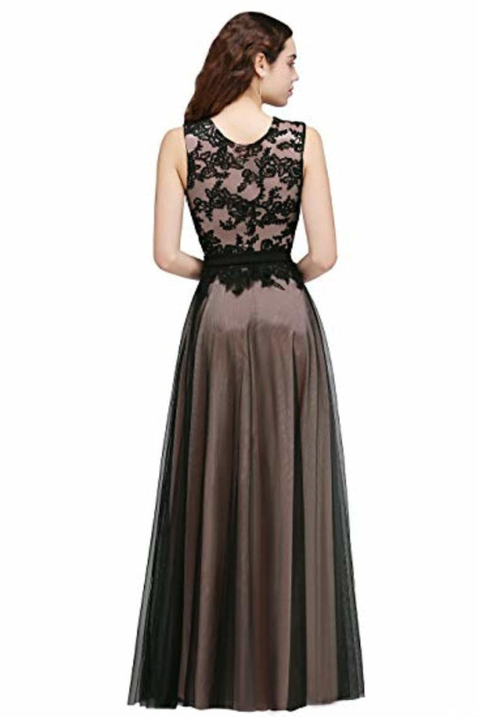 Lace Tulle Round Neck A Line Sleeveless Wedding Bridesmaid Long Evening  Festive Party Dress