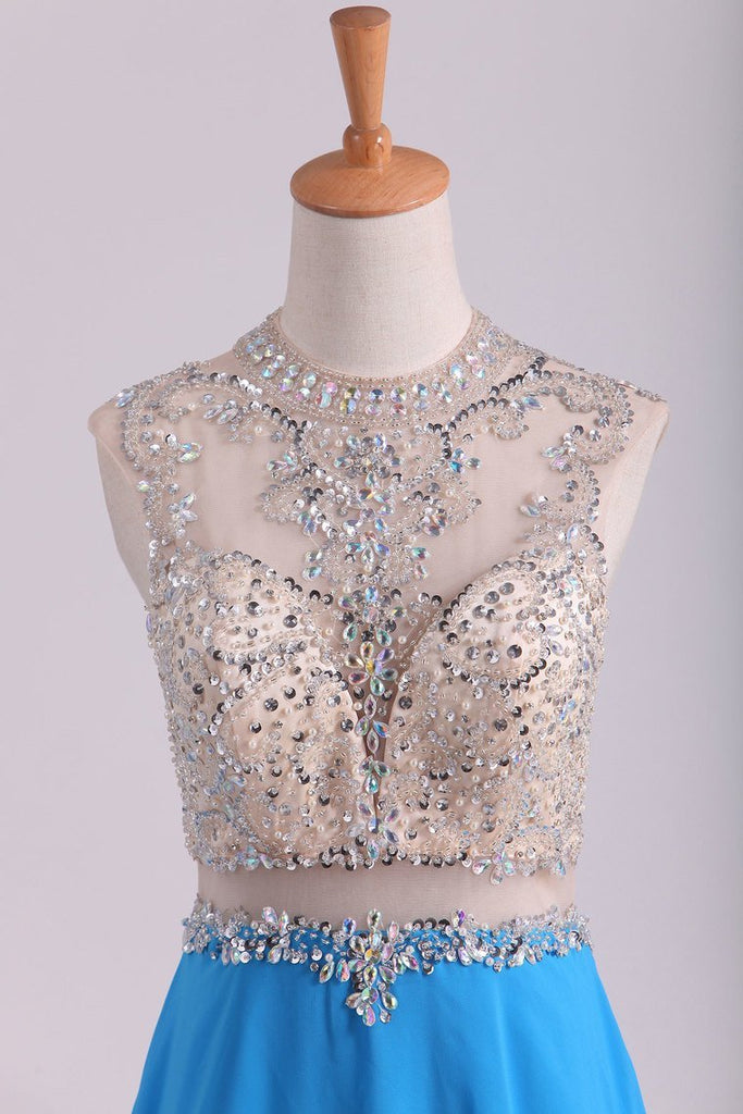 Scoop A Line Prom Dresses Beaded Bodice Chiffon & Tulle With Slit