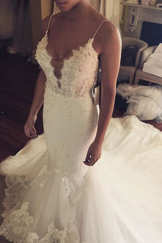 Wedding Dresses Mermaid Spaghetti Straps With Applique Tulle
