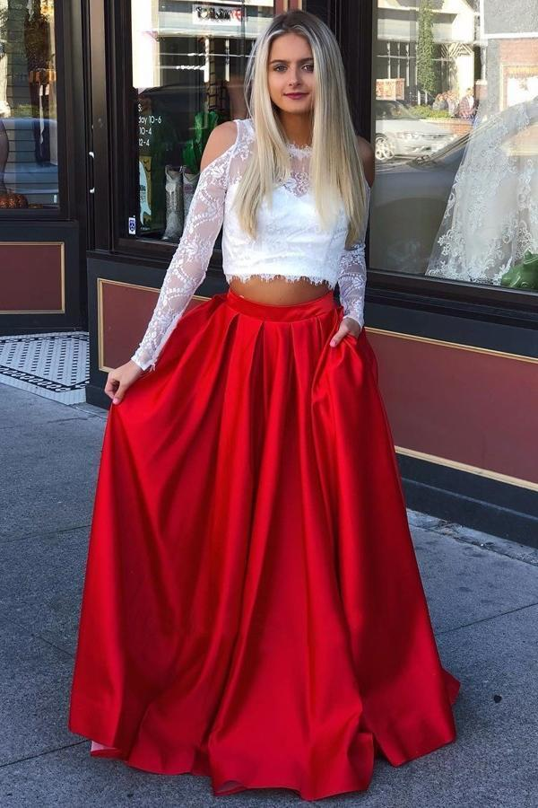 A Line Red and White Long Sleeve Satin Two Piece Prom Dresses with Pockets JS729