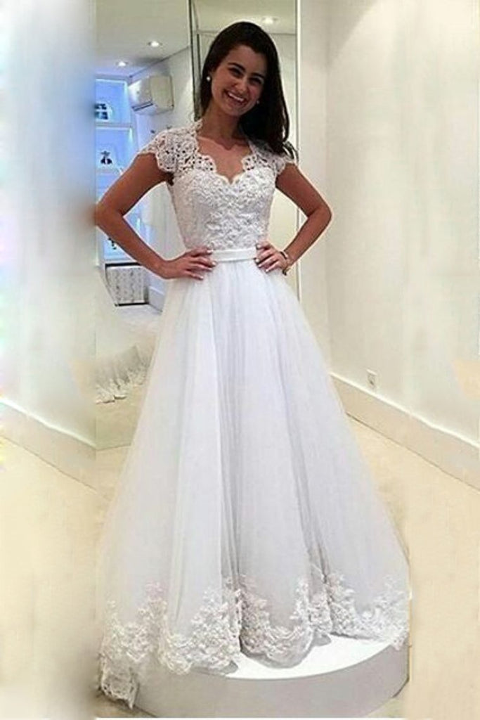 2021 A Line V Neck Wedding Dresses Tulle With Applique And Sash Sweep Train