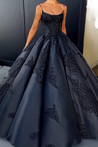 Spaghetti Straps Prom Dresses Satin A Line With Applique Floor Length