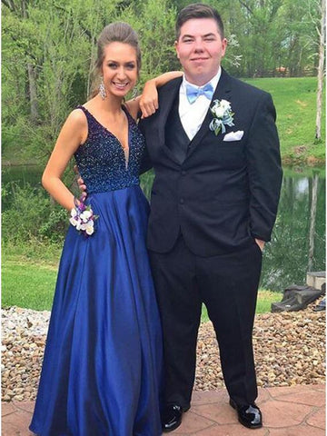 Hot Selling V-neck Floor-Length Royal Blue Prom Dress with Beading JS601