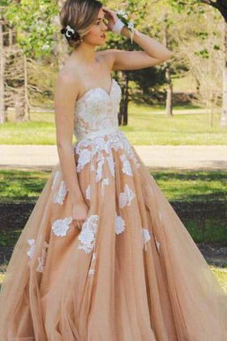 Elegant Sweetheart Floor Length Lace Top Champagne Prom Dresses JS591
