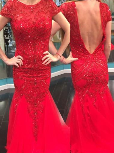 Elegant Jewel Short Sleeves Red Mermaid Prom Dress with Beading Backless JS593