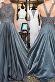 Beautiful Long Beading Open Back A-Line Gray Prom Dresses Party Dresses