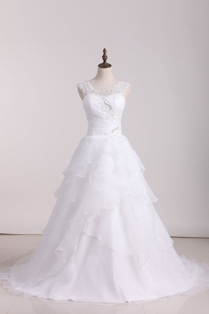 2021 A Line Off The Shoulder Organza Beads & Applique Wedding Dresses