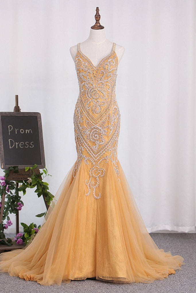 Sexy Open Back Spaghetti Straps Beaded Bodice Mermaid Tulle Prom Dresses