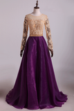 Prom Dresses Scoop A Line With Applique And Beads Floor Length Long Sleeves