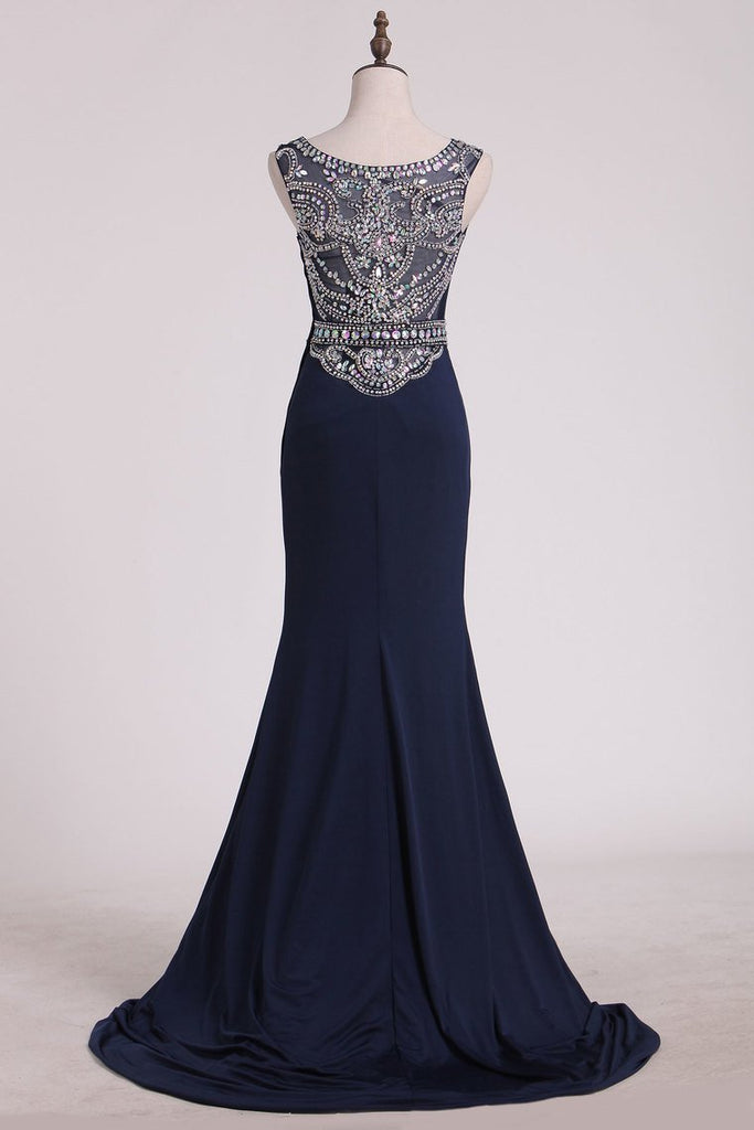 2019 Prom Dresses Scoop Column Sweep Train Spandex With Beads