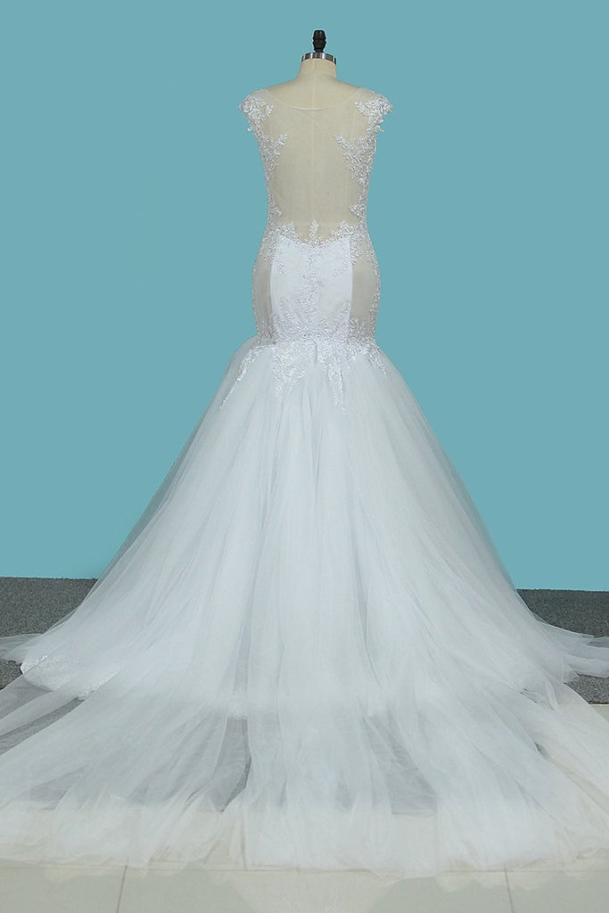 Mermaid Spaghetti Straps Tulle Wedding Dresses With Applique Cathedral Train