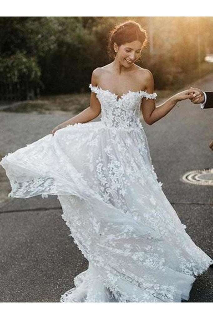 A-Line Off-The-Shoulder Boho Wedding Dress With Appliques