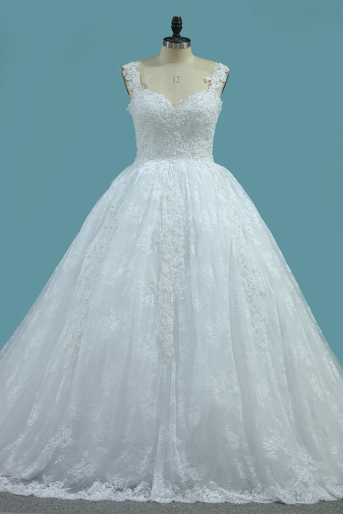 2019 Straps Tulle Ball Gown Wedding Dresses With Applique Chapel Train