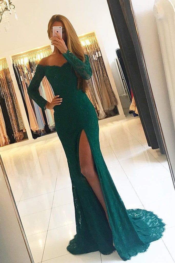 2019 Off The Shoulder Mermaid Long Sleeves Prom Dresses Lace With Slit Sweep Train