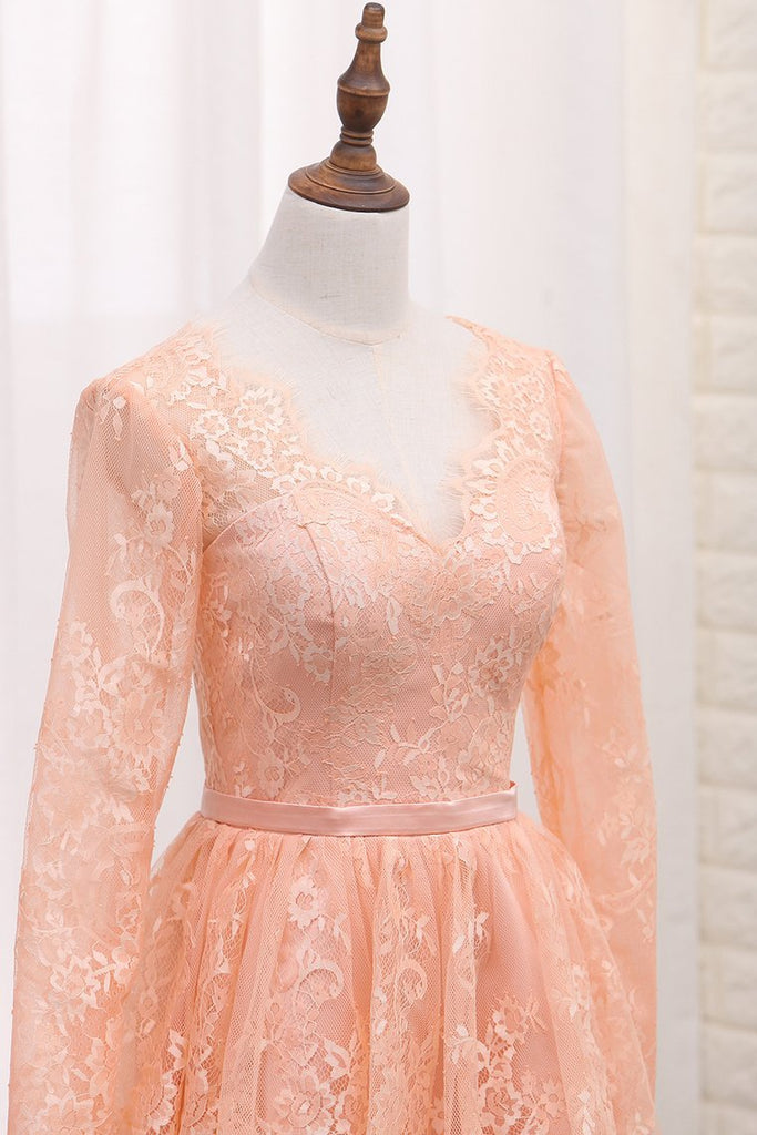 2021 A Line V Neck Long Sleeves Lace Homecoming Dresses With Sash