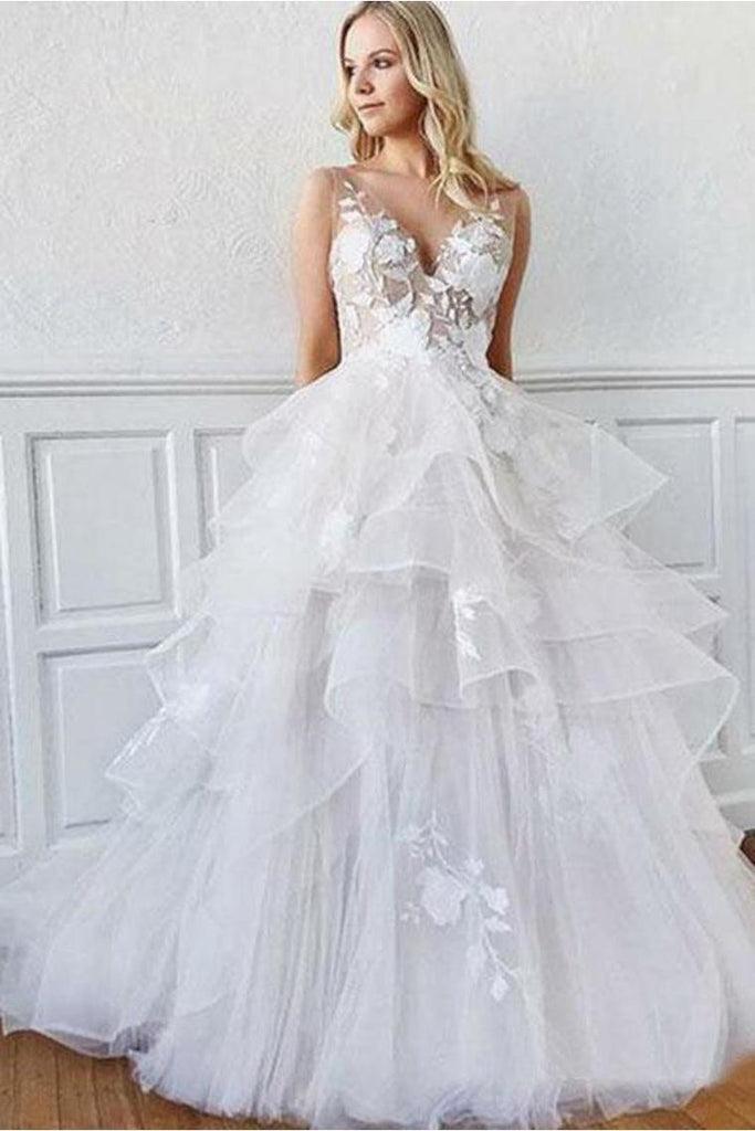 A-Line V Neck Sweep Train Wedding Dress With Appliques