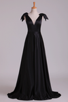 Deep V-Neck Evening Dresses A-Line Satin With Bow-Knot & Ribbon