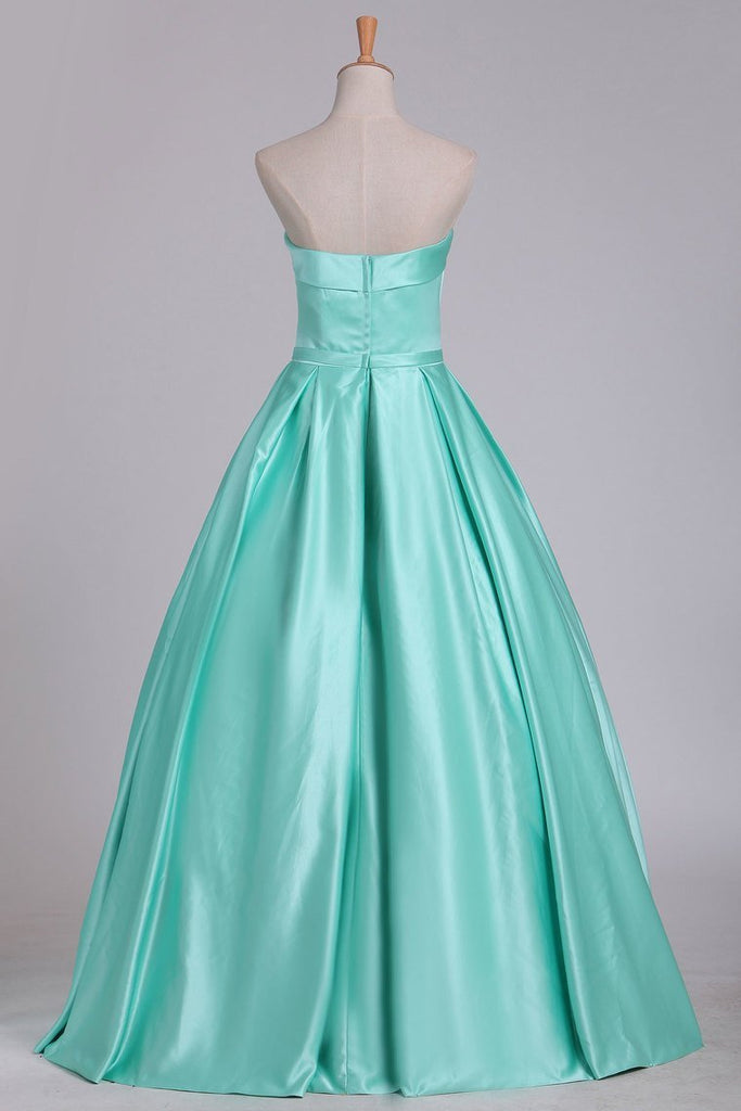 2021 Ball Gown Evening Gown Strapless Satin With Sash Floor Length