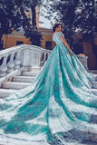 2021 Off The Shoulder A Line Lace Prom Dresses Chapel Train