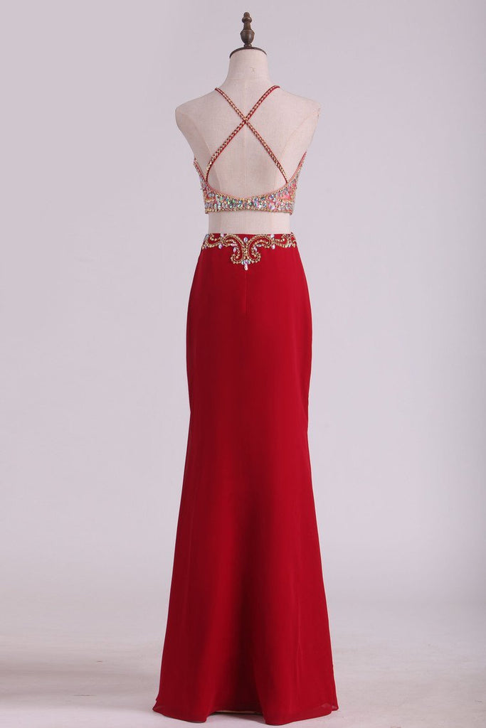 Two Pieces Halter Sheath Prom Dresses Chiffon With Beading