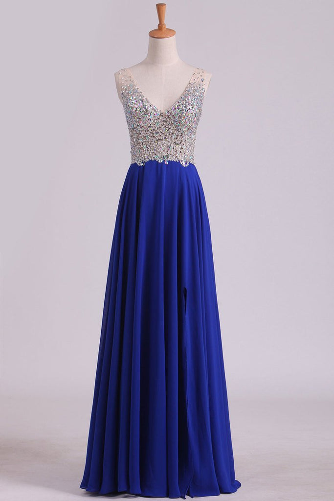 V Neck Beaded Bodice A Line Prom Dresses Chiffon With Slit Sweep Train