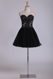 2021 A Line Homecoming  Dresses Sweetheart With Beads And Applique Short/Mini