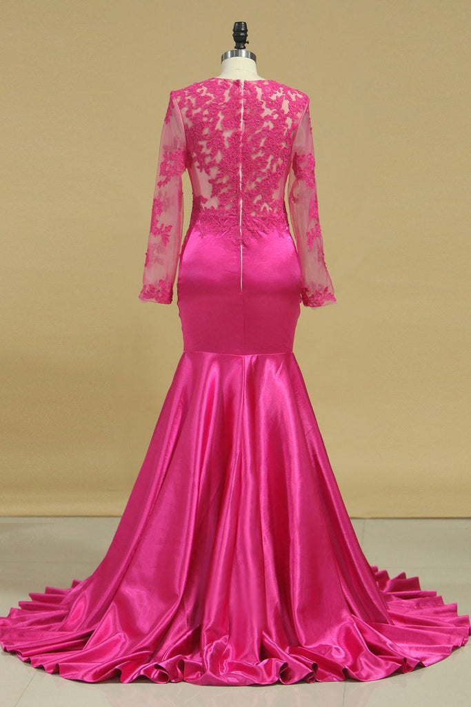 Evening Dresses Mermaid Scoop Long Sleeves Elastic Satin With Applique