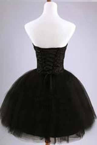 Black Junior Tulle Cheap Sweetheart Strapless Homecoming Dress Dresses for Homecoming JS951