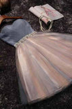 Cute grey/black Strapless Short Sleeveless Prom Dress Homecoming Dress Bridesmaid Dress JS958