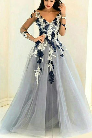 Gray organza V-neck long sleeves see-through handmade flowers A-line Prom Dresses UK JS353