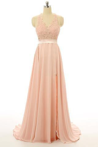 Peach Lace Backless Sexy Cheap V-Neck Halter Sleeveless A-Line Open Back Prom Dresses JS33