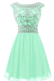Cap Sleeves Homecoming Dresses A Line Chiffon With Beading