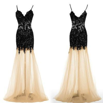 Black Lace Mermaid Unique Sweetheart Spaghetti Straps Tulle Sexy Prom Dresses JS988
