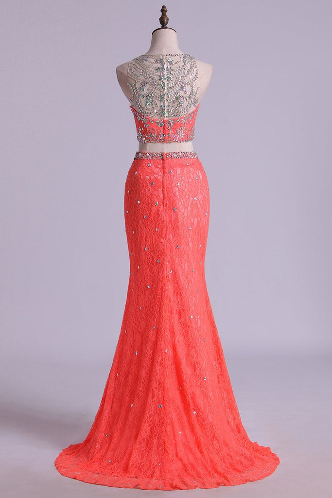 Mermaid/Trumpet Prom Dresses Two Pieces Scoop Lace With Beading
