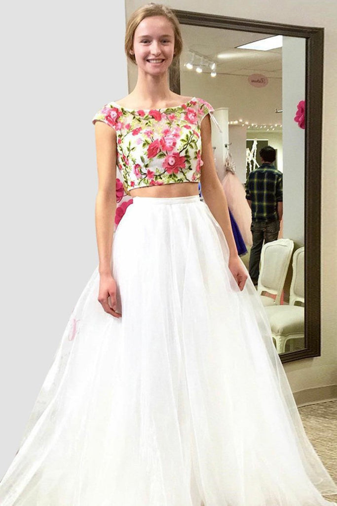 Cap Sleeves Beautiful Two Pieces Long Ivory Flowy Prom Dresses