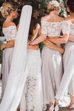 Two Pieces Lace Top Short Sleeve Off-the-Shoulder Beach Affordable Bridesmaid Dresses JS517
