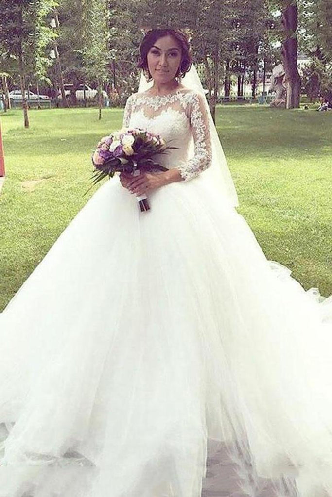 Princess Long Sleeves Bateau Ball Gown Tulle Wedding Dresses With Lace Appliques
