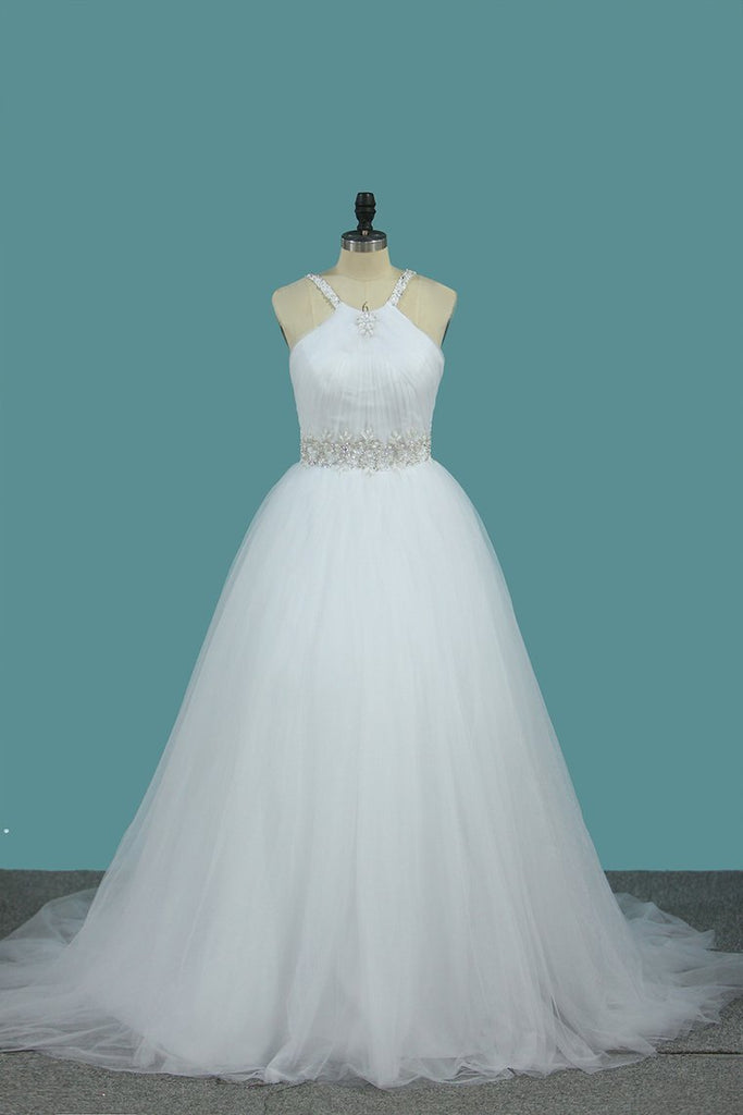 2021 A Line Wedding Dress Halter Beaded Straps And Waistline Tulle Pleated Bodice