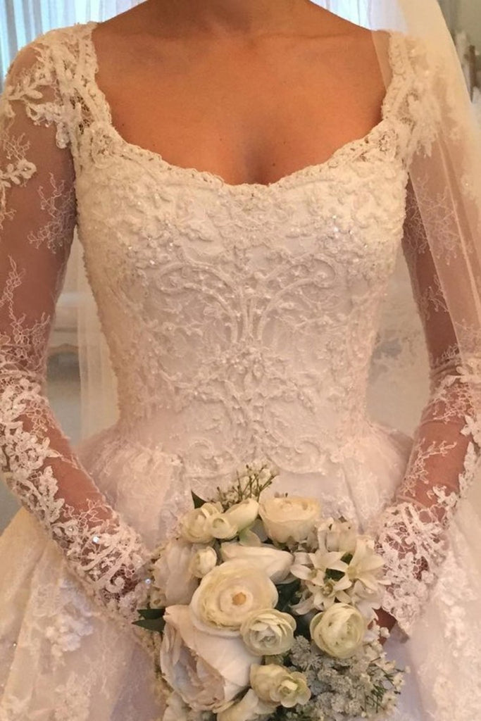 Amazing Long Sleeves Ball Gown Long Ivory Lace Wedding Dresses