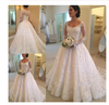 A-Line Lace Appliques V Neck Tulle Long Sleeve Ivory Covered Buttons Wedding Dresses JS327