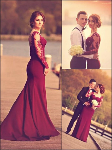 A-Line Sweetheart Long Sleeve Burgundy Prom Dress With Lace Appliques JS98