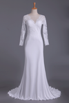 Wedding Dresses Scoop Long Sleeves Spandex Court Train With Applique