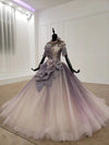 Sparkly Ball Gown Ombre Half Sleeves Jewel Long Prom Dresses, Beads Quinceanera Dresses SSM15601