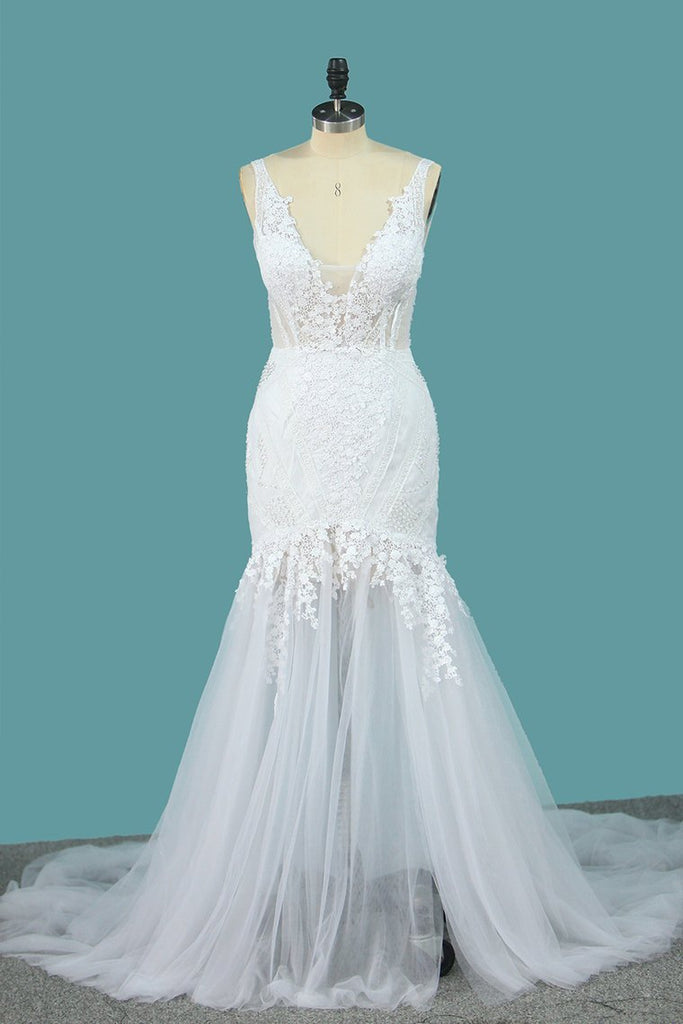 Spaghetti Straps Tulle Mermaid Wedding Dresses With Applique Open Back