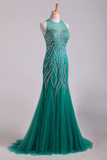2019 Scoop Mermaid Tulle Prom Dresses Fully Beaded Bodice Sweep Train