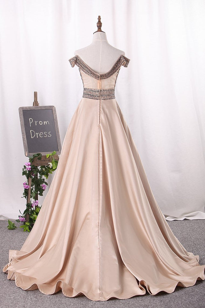 2019 New Arrival Off The Shoulder Satin A Line Prom Dresses Beaded Bodice