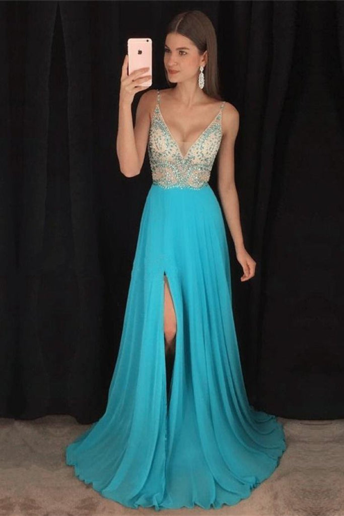 Modest V-Neck Long A-Line Beading Chiffon Prom Dresses Party Dresses