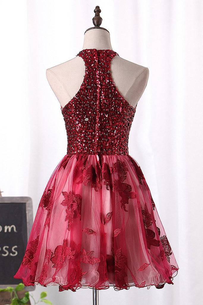 2021 A Line Homecoming Dresses Scoop Tulle With Beads And Applique
