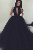 2021 Elegant Black Ball Gown Sexy Backless Long Sleeveless V-Neck Tulle Prom Dresses JS993